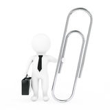 3d Businessman with Silver Paper Clip. 3d Rendering. 3d Businessman with Silver Paper Clip on a white background. 3d Rendering Royalty Free Stock Photo