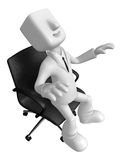 3D Businessman is sitting on an armchair. 3D Square Man Series. Stock Image