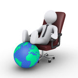 Businessman relaxing with feet on globe. 3d businessman is sitting on chair with his feet on the globe Stock Images