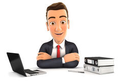 3d businessman sitting at desk Stock Image