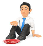 3D Businessman sitting on the floor begging for money. 3d business people illustration. Businessman sitting on the floor begging for money. White background Royalty Free Stock Image