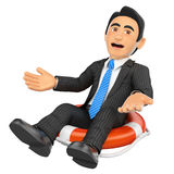 3D Businessman sitting in a lifesaver. Bankrupt company. 3d business people illustration. Businessman sitting in a lifesaver. Bankrupt company. White background Royalty Free Stock Image