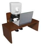 3d Businessman sitting at a table. Working at a laptop. 3D Squar Stock Images
