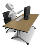 3d Businessman sitting at a table. Working at a laptop. 3D Squar Stock Photo