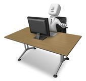 3d Businessman sitting at a table. Working at a laptop. 3D Squar Royalty Free Stock Photo