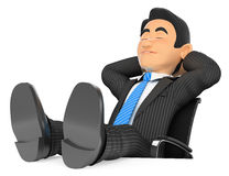 3D Businessman sleeping with eyes closed and feet up Royalty Free Stock Photo