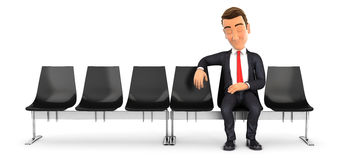 3d businessman sleeping in waiting room. Illustration with isolated white background Stock Image