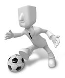 3D Businessman Soccer playing. 3D Square Man Series. Royalty Free Stock Image