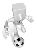 3D Businessman Soccer playing. 3D Square Man Series. Royalty Free Stock Images