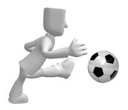3D Businessman Soccer playing. 3D Square Man Series. Stock Photography