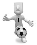 3D Businessman Soccer playing. 3D Square Man Series. Stock Photo