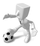 3D Businessman Soccer playing. 3D Square Man Series. Royalty Free Stock Photo