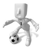 3D Businessman Soccer playing. 3D Square Man Series. Stock Photos
