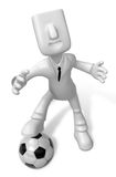 3D Businessman Soccer playing. 3D Square Man Series. Royalty Free Stock Photos