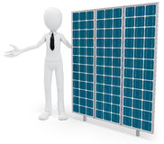 3d businessman with solar panel. On white background Stock Photos