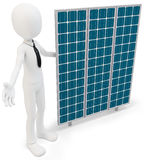 3d businessman with solar panel. On white background Royalty Free Stock Images