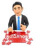 3D Businessman solving a puzzle. Solution concept Stock Photos