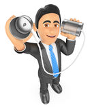 3D Businessman speaking through a can. Communication concept Royalty Free Stock Photo