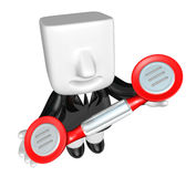 3D Businessman standing in a circle with their phone. 3D Square Royalty Free Stock Image