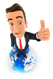 3d businessman is standing on earth Royalty Free Stock Images