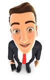 3d businessman standing and looking up at camera. Illustration with  white background Royalty Free Stock Image