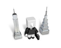 3d Businessman standing next to skyscrapers. Working at a laptop Royalty Free Stock Photo