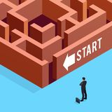 3d businessman stands in front of the maze. Isometric concept of business strategy. 3d businessman stands in front of the maze. Vector illustration Stock Photos