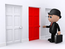 3d Businessman stands at the red door. 3d render of a businessman standing outside a red door Royalty Free Stock Photos
