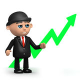 3d Businessman stands by upward pointing arrow. 3d render of a businessman standing by an upward pointing green arrow Royalty Free Stock Image
