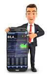 3d businessman statistics smartphone Royalty Free Stock Photo