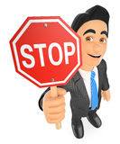 3D Businessman with a stop sign Royalty Free Stock Image