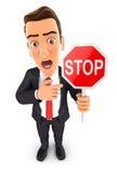 3d businessman stop sign Stock Photography