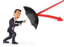 3d businessman stopping arrow with umbrella Stock Photo
