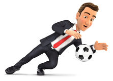 3d businessman stopping soccer ball. Illustration with  white background Stock Images