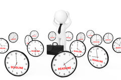 3d Businessman Stressed in centre of Many Clock with Deadline Si. Gn on a white background. 3d Rendering Royalty Free Stock Photo