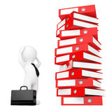 3d Businessman Stressed near Stack of Red Achive Office Binders. Stock Image