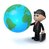 3d Businessman studies a globe of the Earth Stock Photo