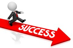 3D businessman/ success concept. 3D running cartoon character/ businessman, red arrow - success concept Royalty Free Stock Photos
