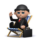 3d Businessman takes a break. 3d render of a businessman sitting in a deck chair Stock Images