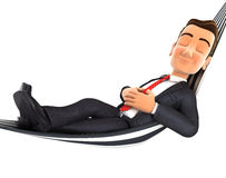 3d businessman takes a nap in a hammock. White background Stock Images