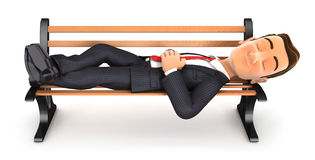 3d businessman taking a nap on public bench. Illustration with isolated white background Stock Images