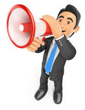 3D Businessman talking through a megaphone Royalty Free Stock Photo