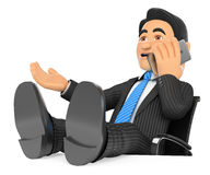 3D Businessman talking on mobile phone with feet up Royalty Free Stock Images