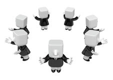 3d businessman team on white background. 3D Square Man Series. Royalty Free Stock Photo