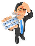 3D Businessman with thermometer and tablet pills. Flu concept Stock Photos