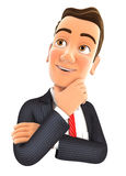 3d businessman thinking. With hand on chin, illustration with  white background Stock Images