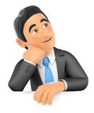3D Businessman thoughtful. Blank space Royalty Free Stock Image