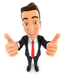 3d businessman thumbs up Royalty Free Stock Photo
