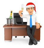 3D Businessman toasting Christmas in his office Royalty Free Stock Photo