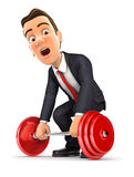 3d businessman trying to lift heavy weight Royalty Free Stock Photo